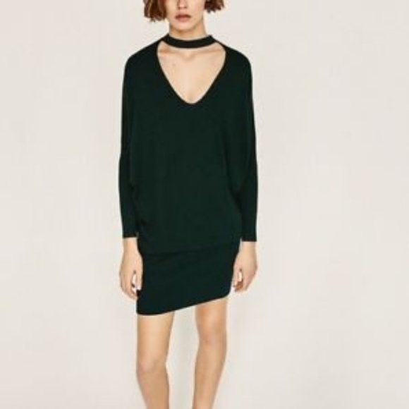 e3e3f335 Zara Dresses | Knit Choker Sweater Dress Dark Emerald Green | Poshmark